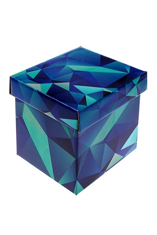 Коробка подарочная ГеометрияСувениры и упаковка<br>26*26*26см, бум., синяя<br>