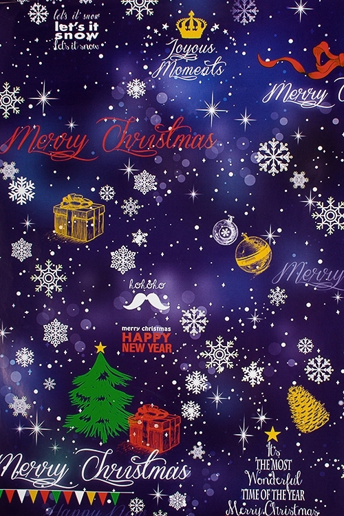 Бумага упаковочная новогодняя Новогодние снежинкиУпаковочная бумага<br>70*100см<br>