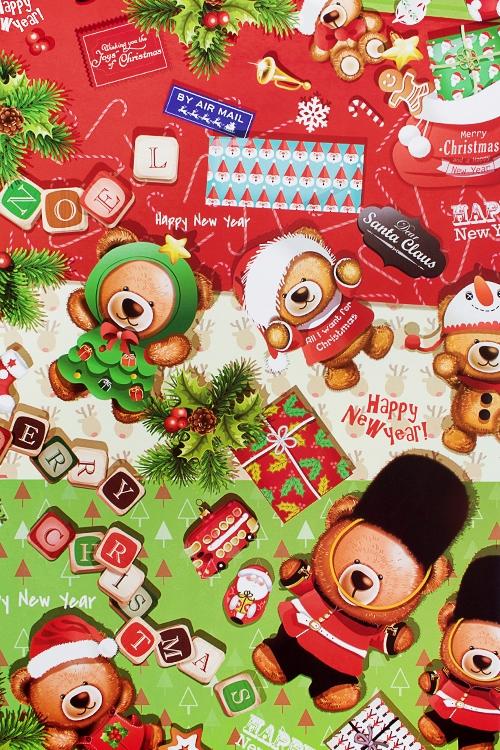 Бумага упаковочная новогодняя Праздничные медвежатаСувениры и упаковка<br>70*100см<br>