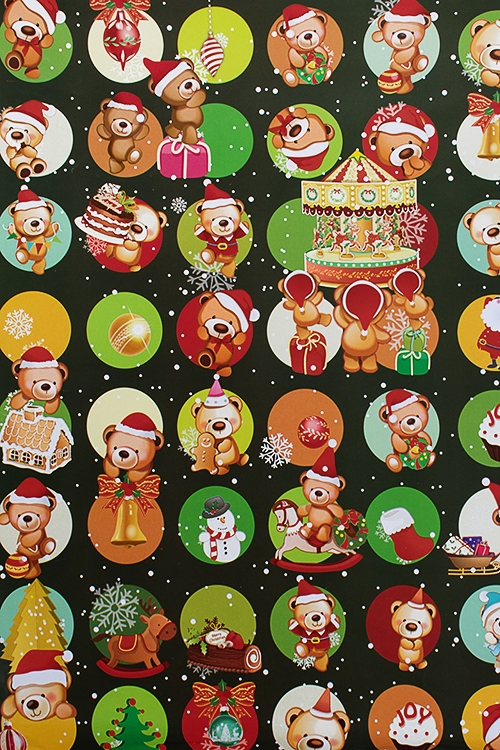 Бумага упаковочная новогодняя Веселые медвежатаУпаковочная бумага<br>70*100см<br>