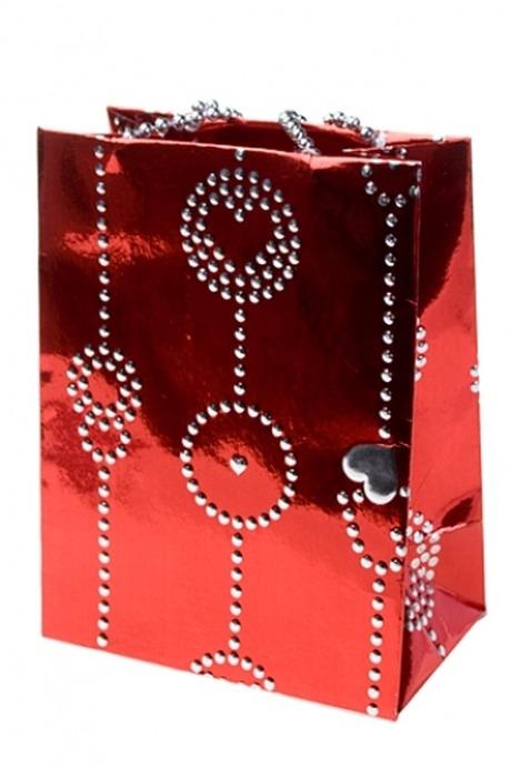 Пакет подарочный Гирлянда из сердецПакеты про Любовь<br>10.8*6.5*14см, бум. красный, с декором<br>