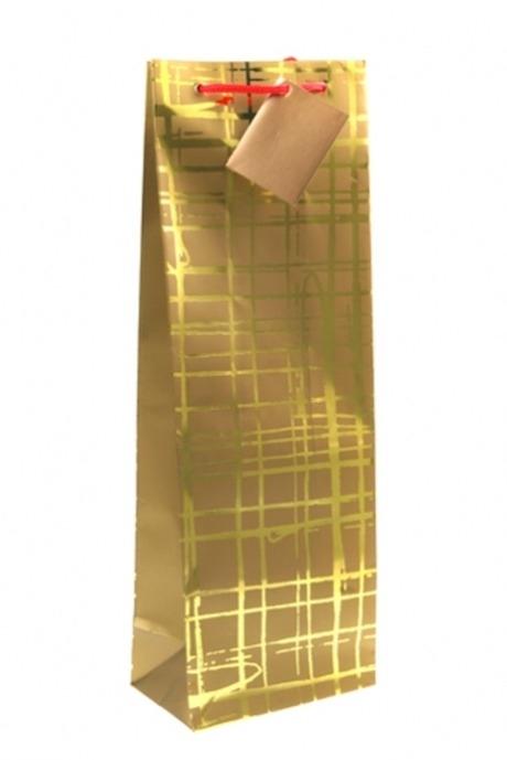 Пакет подарочный для бутылки Золотая сетьСувениры и упаковка<br>12.3*7.8*36.2см, бум., с горячим тиснением. Отличный подарок на 23 февраля!<br>