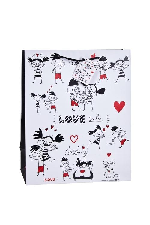 Пакет подарочный Превратности любвиПакеты про Любовь<br>26.4*13.6*32.7см, бум., матовый, с декором, бело-черный<br>