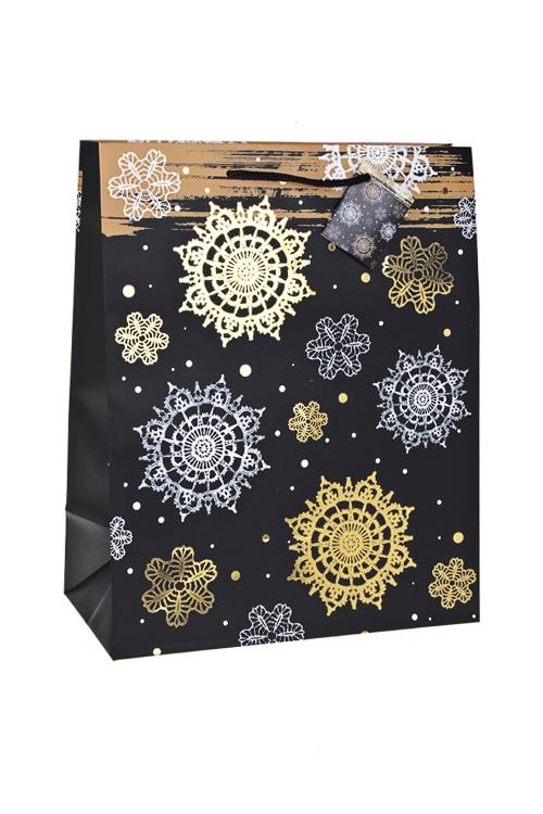 Пакет подарочный новогодний Ночной снегопадСувениры и упаковка<br>26.4*13.6*32.7см, бум., матовый, с гор. тиснением<br>