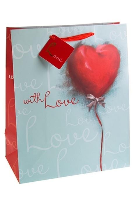 Пакет подарочный Акварельное сердцеСувениры и упаковка<br>26.4*13.6*32.7см, бум.<br>