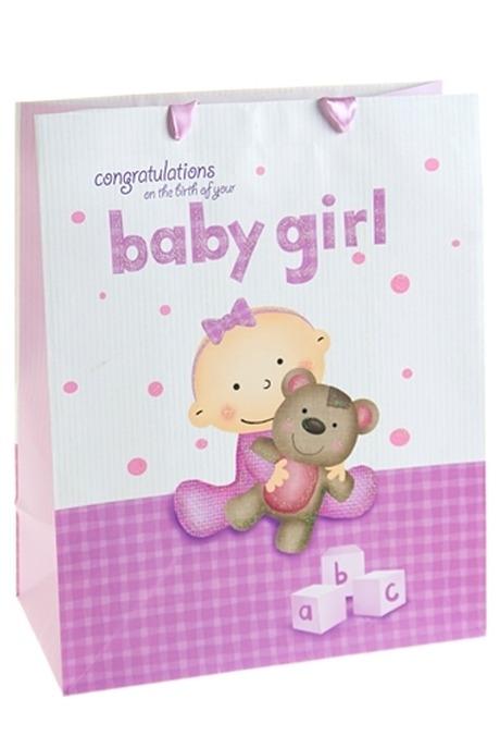 Пакет подарочный Бейби герлПакеты «С новорожденным»<br>26.4*13.6*32.7см, бум., с декором<br>