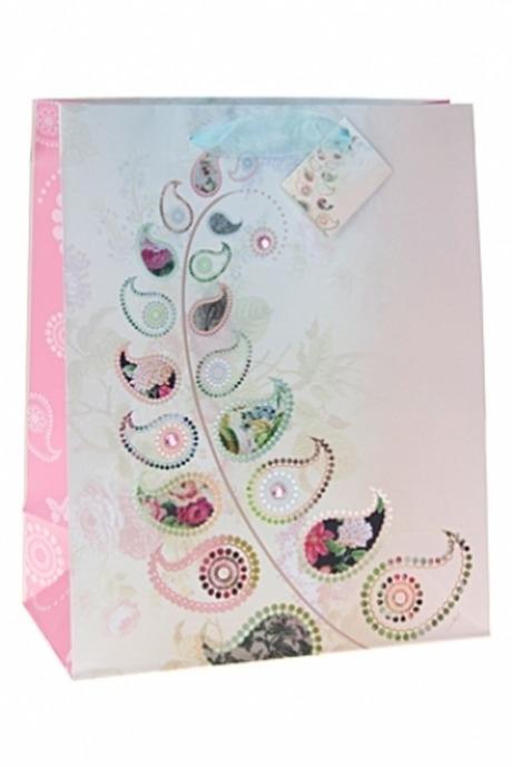 Пакет подарочный Перо павлинаСувениры и упаковка<br>26.4*13.6*32.7см, бум., с декором, матовый<br>