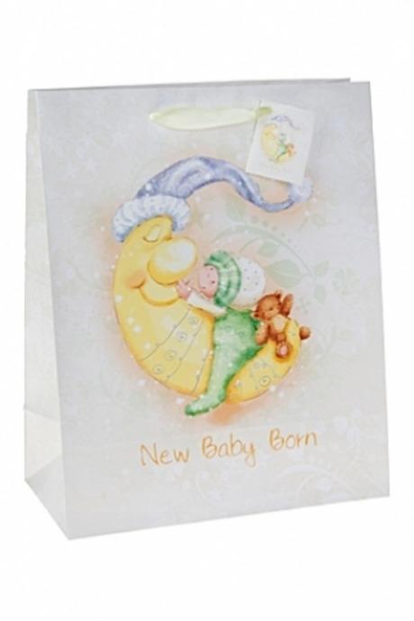 Пакет подарочный Спящий малышСувениры и упаковка<br>26.4*13.6*32.7см, бум., с декором, матовый<br>