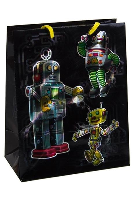 Пакет подарочный РоботыПакеты на любой повод<br>26.4*13.6*32.7см, бум., с декором<br>