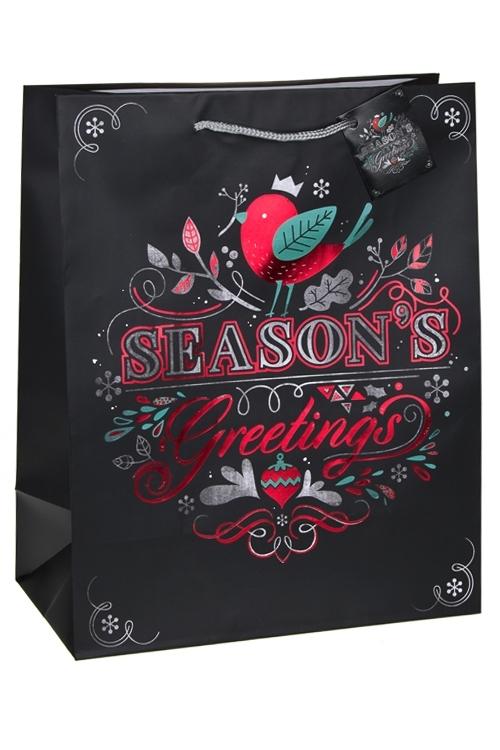 Пакет подарочный Пламенное поздравлениеПодарочные пакеты<br>32.4*10.2*44.5см, бум., матовый, с гор. тиснением<br>
