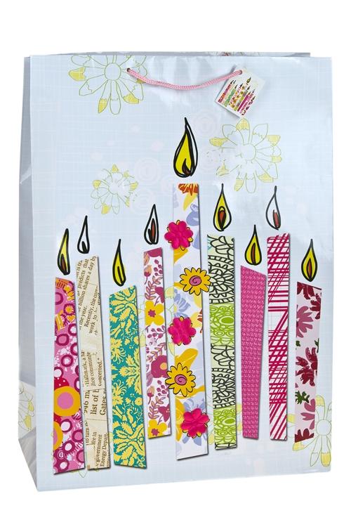 Пакет подарочный Свечки для тортаСувениры и упаковка<br>40.6*20.3*55.8см, бум., с декором, глянцевый<br>