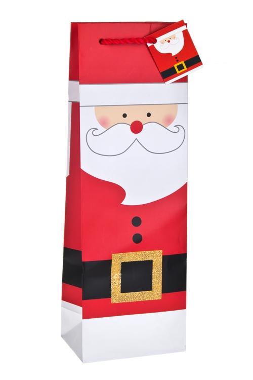 """Пакет подарочный новогодний для бутылки """"Добрый Дед Мороз"""" - 1"""