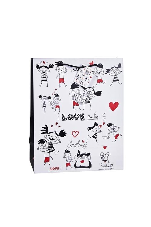 Пакет подарочный Превратности любвиСувениры и упаковка<br>18*10*22.7см, бум., матовый, с декором, бело-красный<br>