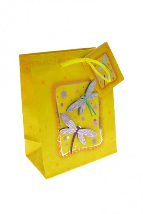 Пакет подарочный СтрекозыПакеты на любой повод<br>11.4*6.4*14.6см, бум., матовый, с декором<br>
