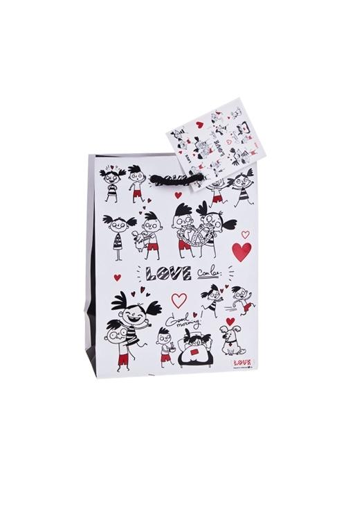 Пакет подарочный Превратности любвиСувениры и упаковка<br>11.4*6.4*14.6см, бум., матовый, с декором, бело-черный<br>