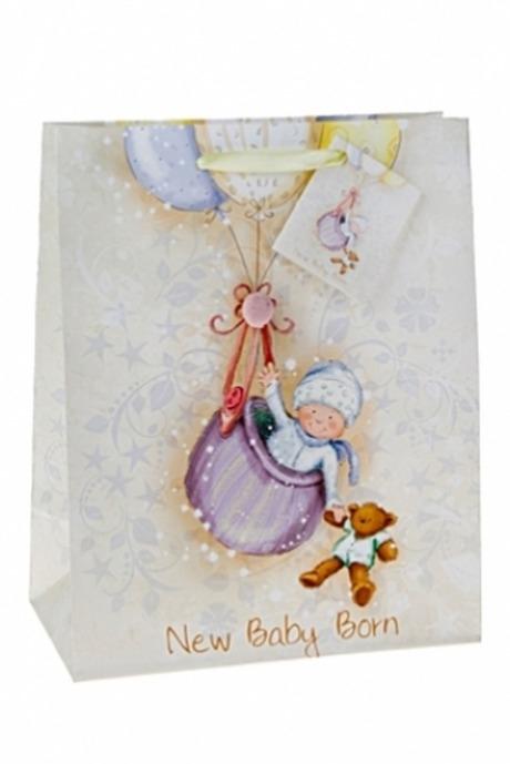 Подарочный пакет Летящий малышПакеты «С новорожденным»<br>18*10*22.7см, бум., с декором, матовый<br>