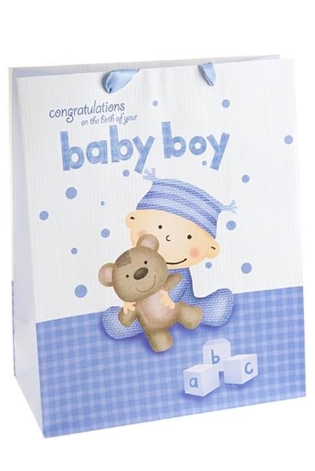 Пакет подарочный Бейби бойСувениры и упаковка<br>18*10*22.7см, бум., с декором<br>