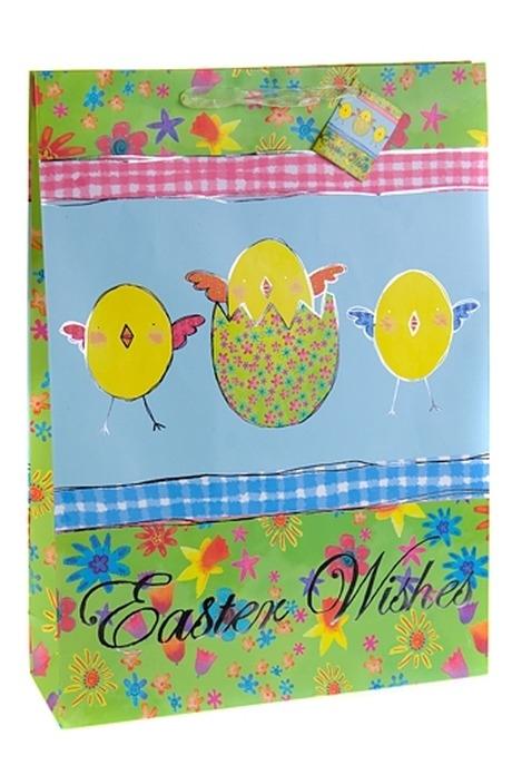 Пакет подарочный ЦыплятаСувениры и упаковка<br>32.4*10.2*44.5см, бум., с декором<br>
