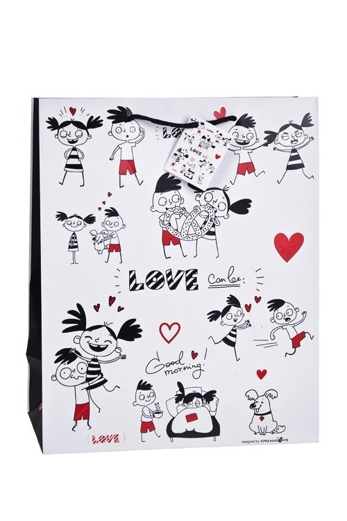 Пакет подарочный Превратности любвиПакеты про Любовь<br>32.4*10.2*44.5см, бум., матовый, с декором, бело-красный<br>