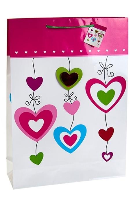 Пакет подарочный Гирлянда из сердецПакеты про Любовь<br>32*10*44см, бум., с декором<br>