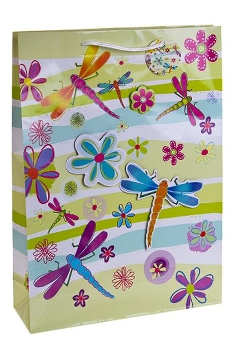 Пакет подарочный Стрекозы и цветыПакеты на любой повод<br>32*10*44см, бум., с декором<br>