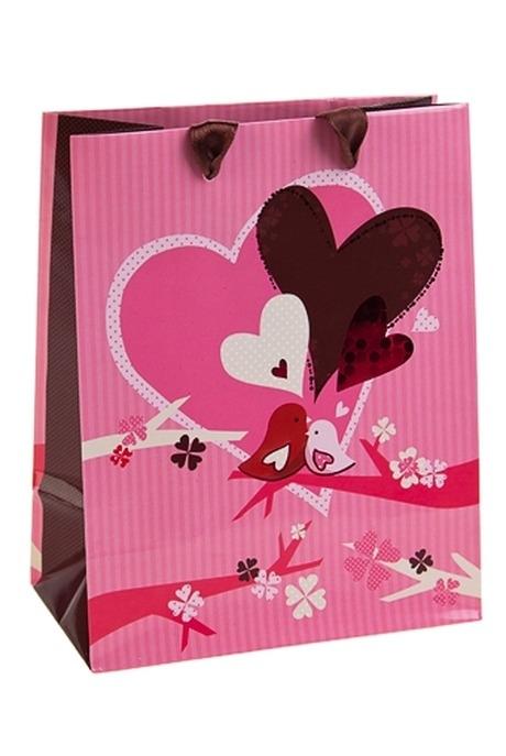 Пакет подарочный Пернатая парочкаСувениры и упаковка<br>11.4*6.4*14.6см, бум., с декором<br>