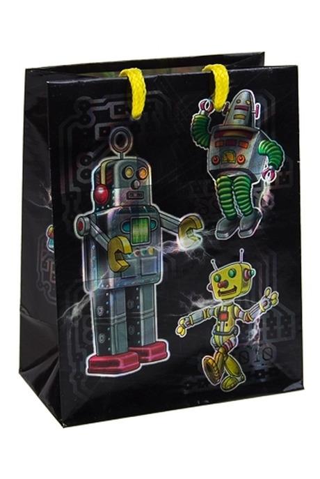 Пакет подарочный РоботыПакеты на любой повод<br>11.4*6.4*14.6см, бум., с декором<br>