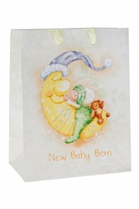 Пакет подарочный Спящий малышПакеты «С новорожденным»<br>11.4*6.4*14.6см, бум., матовый, с декором<br>