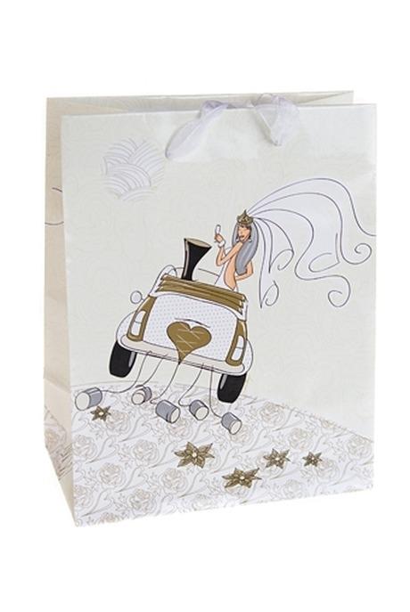 Пакет подарочный Свадебный кортежПакеты «С Днем свадьбы»<br>11.4*6.4*14.6см, бум.<br>