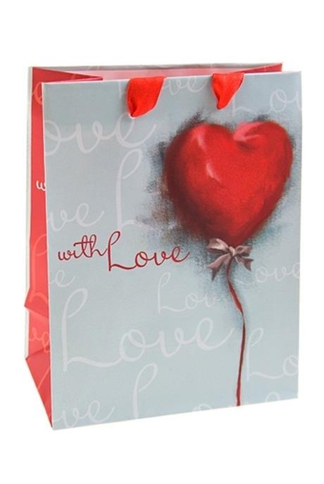 Пакет подарочный Акварельное сердцеСувениры и упаковка<br>11.4*6.4*14.6см, бум.<br>