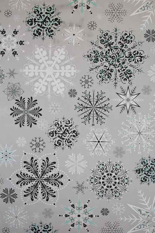 """Бумага упаковочная новогодняя """"Ледяные кристаллики"""" - 1"""
