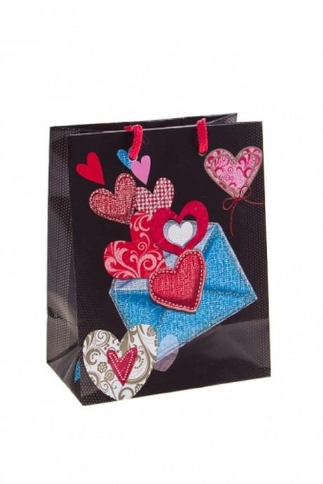 Пакет подарочный Сердца в конвертеСувениры и упаковка<br>11.4*6.4*14.6см, бум., с декором<br>