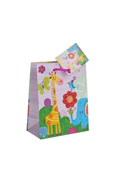 Пакет подарочный Веселые зверятаСувениры и упаковка<br>11.4*6.4*14.6см, бум., с декором, матовый<br>