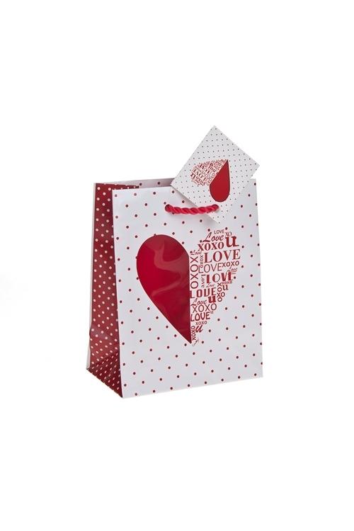 Пакет подарочный Шелковое сердцеПакеты про Любовь<br>11.4*6.4*14.6см, бум., с декором, глянцевый<br>