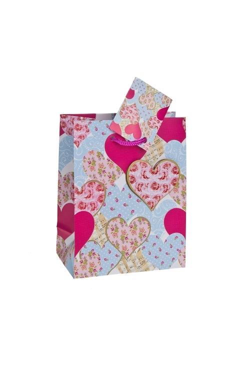 Пакет подарочный Розы в сердцахПакеты про Любовь<br>11.4*6.4*14.6см, бум., с декором, матовый<br>