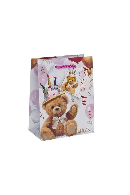 Пакет подарочный Поздравление от мишкиПакеты «С Днем рождения»<br>11.4*6.4*14.6см, бум., с декором, матовый<br>