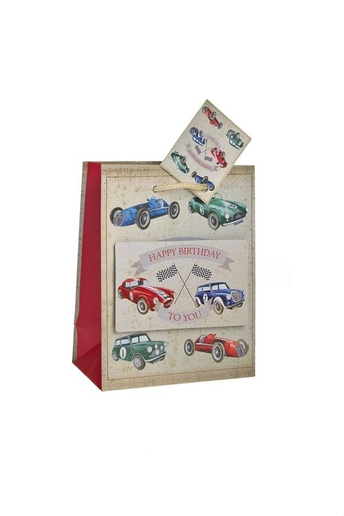 Пакет подарочный Раритетные машиныСувениры и упаковка<br>11.4*6.4*14.6см, бум., с декором, матовый<br>