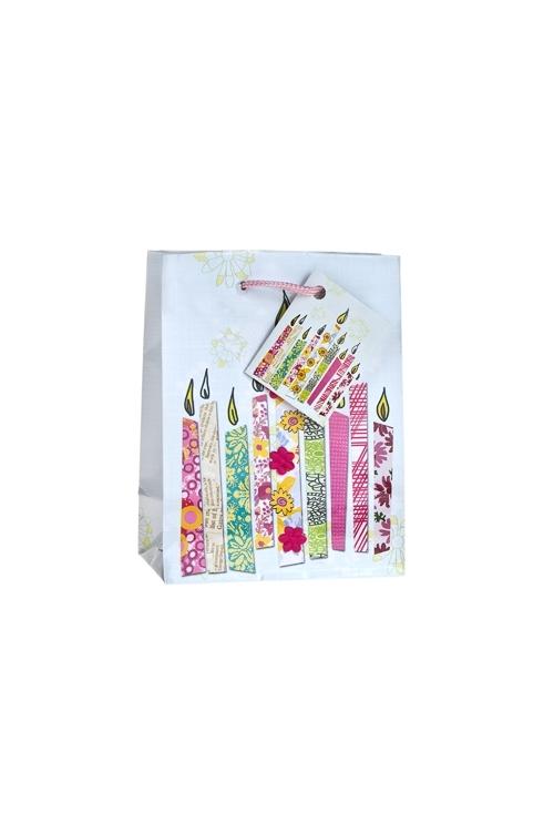 Пакет подарочный Свечки для тортаСувениры и упаковка<br>11.4*6.4*14.6см, бум., с декором, глянцевый<br>