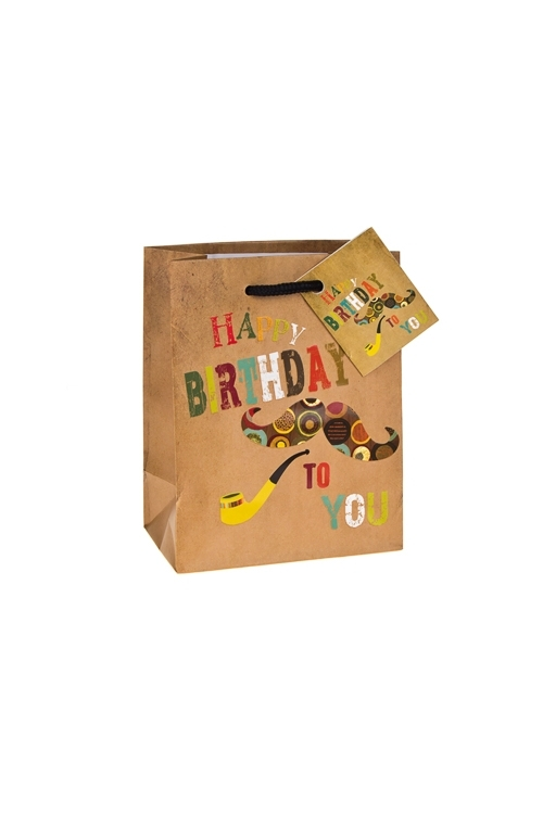 Пакет подарочный Усы и трубкаПакеты «С Днем рождения»<br>11.4*6.4*14.6см, бум., матовый, с декором<br>