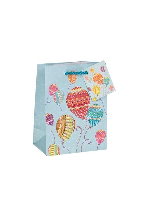 Пакет подарочный Воздушные шары в узорахСувениры и упаковка<br>11.4*6.4*14.6см, бум., матовый, с гор. тиснением<br>