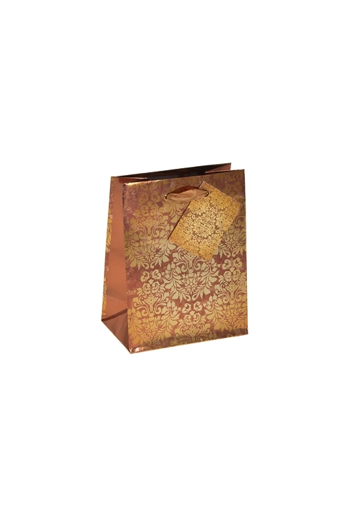Пакет подарочный Золотой узорПодарочные пакеты<br>11.4*6.4*14.6см, бум., глянцевый<br>