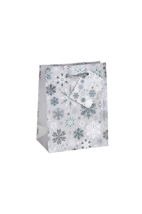Пакет подарочный новогодний Ледяные кристалликиСувениры и упаковка<br>11.4*6.4*14.6см, бум., матовый, с гор. тиснением<br>