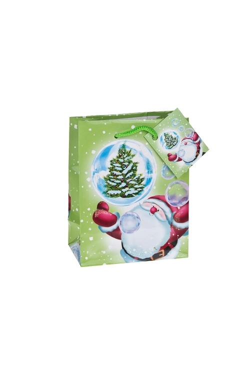 Пакет подарочный новогодний С елочкой в рукахСувениры и упаковка<br>11.4*6.4*14.6см, бум., глянцевый, с декором<br>
