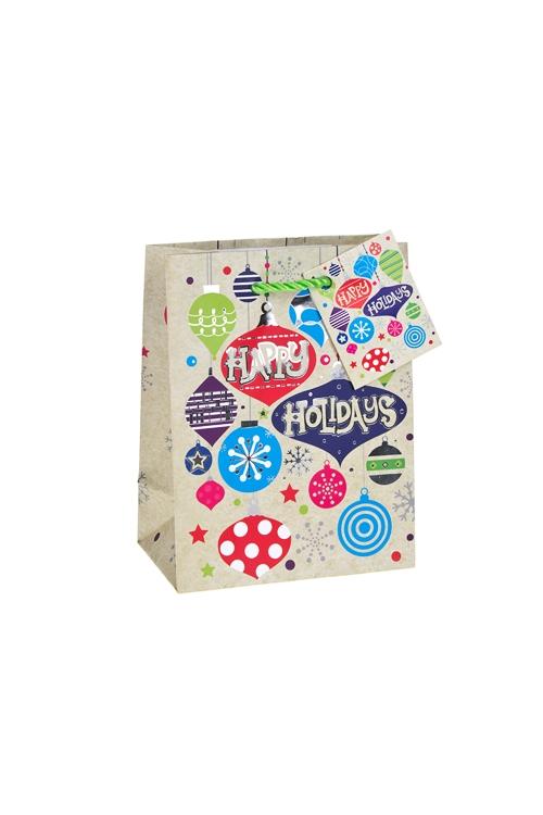 Пакет подарочный новогодний Игрушки на елкуПакеты «С Новым годом и Рождеством»<br>11.4*6.4*14.6см, бум., матовый, с гор. тиснением<br>