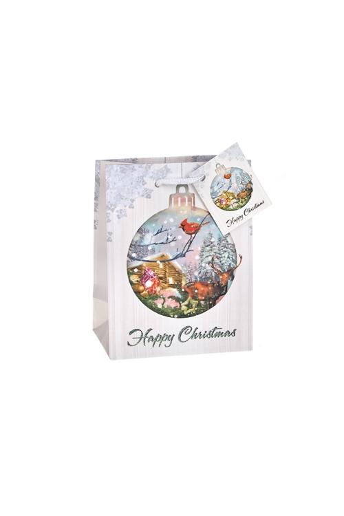 Пакет подарочный новогодний Домик в лесуСувениры и упаковка<br>11.4*6.4*14.6см, бум., матовый, с декором<br>