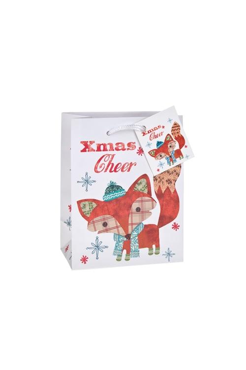 Пакет подарочный новогодний ЛисенокСувениры и упаковка<br>11.4*6.4*14.6см, бум., матовый, с декором<br>