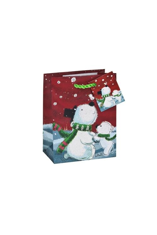 Пакет подарочный новогодний Северные мишкиСувениры и упаковка<br>11.4*6.4*14.6см, бум., матовый, с декором<br>