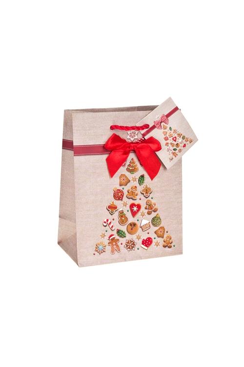 Пакет подарочный новогодний Пряничная елочкаСувениры и упаковка<br>11.4*6.4*14.6см, бум., матовый, с декором<br>
