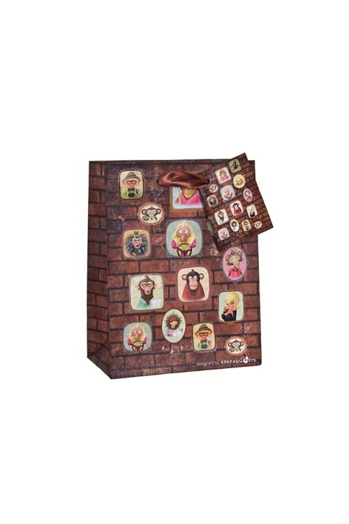 Пакет подарочный Портреты обезьянокСувениры и упаковка<br>11.4*6.4*14.6см, бум., матовый, с декором<br>