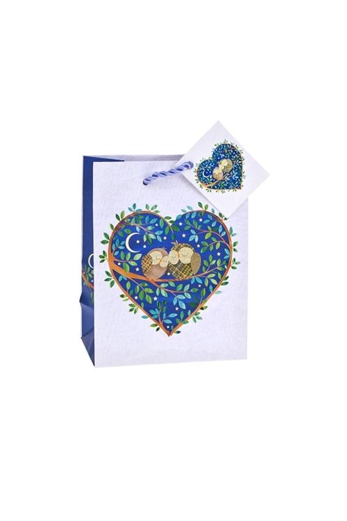 Пакет подарочный Влюбленные совыСувениры и упаковка<br>11.4*6.4*14.6см, бум., матовый, с декором<br>